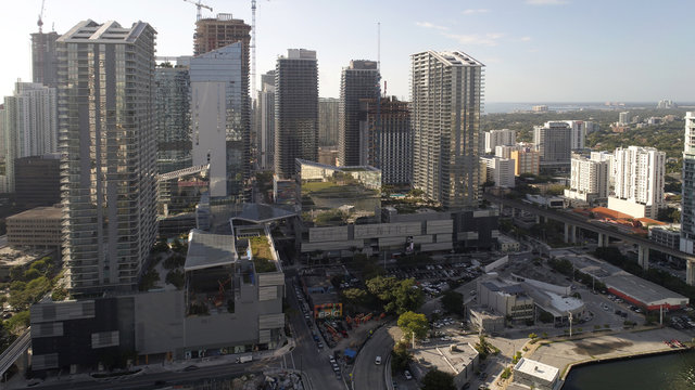 BRICKELL - JANUARY 26, 2017: Aerial image of Brickell City Centre completed in 2016 offers mixed use residential and commercial space and is located at 701 S Miami Ave.