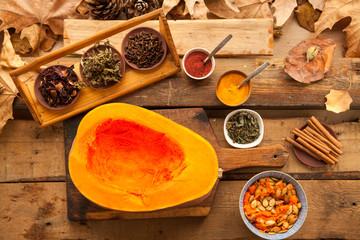 Pumpkin prepared for cooking vegetarian diabetic pie. Healthy food for sport lifestyle.