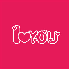 i love you text line icon white on pink