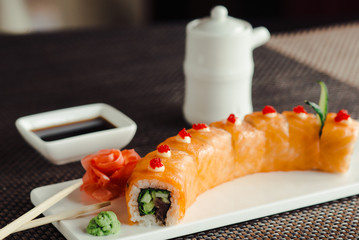 Japanese sushi, the red dragon on a white dish