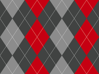 Red gray argyle fabric texture seamless pattern