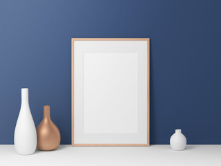 Poster Frame mockup, blue wall background, 3d rendering