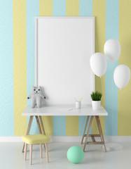Poster frame mockup in children room 3d rendering