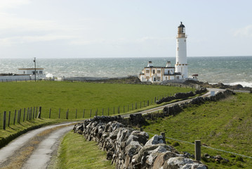 Road leading to Lighthouse and to North Channel and Irish Sea beyond..