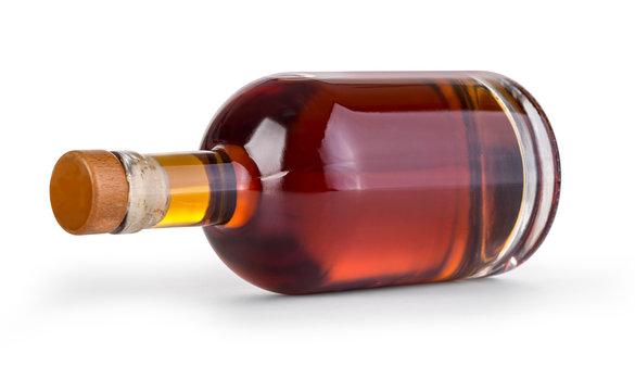 whiskey bottle on white background