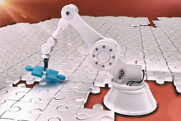 Robot setting up jigsaw puzzle 3d