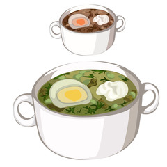 Chicken soup with egg and sour cream, vector food