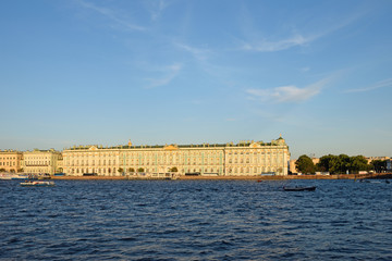 View of the Winter Palace from the Palace bridge in summer