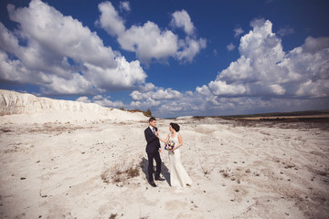 Wedding couple in honeymoon on beautiful landscape background. Happy newlyweds
