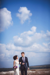 Bride and groom walking on sky with clouds background