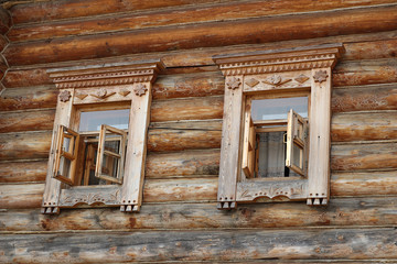 Decorated wooden windows with traditional carving