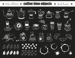 Hand drawn coffee time objects collection. Doodle coffee pots, cups and bags on chalkboard. Vector illustration of coffee icons for cafe and restaurant menu design.