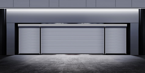 modern closed garage at night