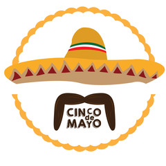 Isolated mexican hat and a mustache, Cinco de mayo vector illustration