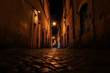 Door stickers Narrow alley Rue de Rome la nuit, Rome, Latium, Italy