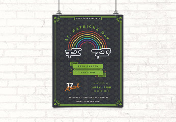 St. Patrick's Day Poster Layout with Rainbow Illustration