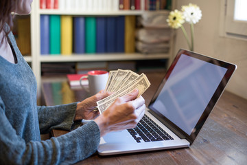 woman hands with green sweater counting dollar banknotes and looking at portable laptop to pay online on wooden table at home