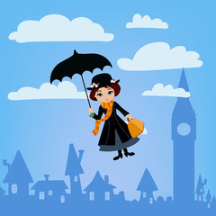 Mary Poppins flies over London. Vector illustration.