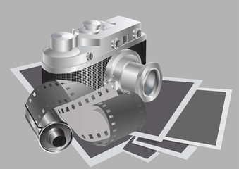 camera and film against the background of the photos. Vector illustration.