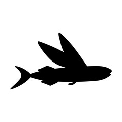 Silhouettes of fish isolated black and white vector illustration minimal style