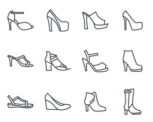 Women Shoes Line Icon