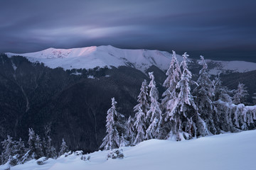 Winter mountains in twilight