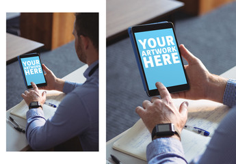 User with Tablet in Office Mockup