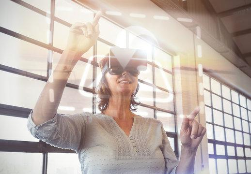 VR User in front of Window Screens Mockup 1