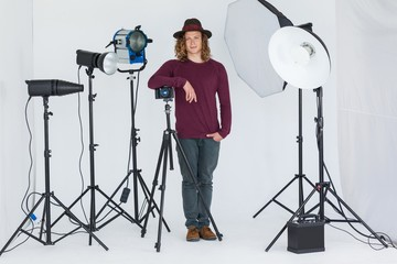 Photographer standing in the photo studio