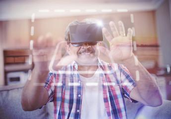 Senior VR User on Couch Mockup