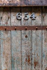 Wooden old prison door closeup