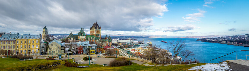 Panoramic view of Quebec City skyline with Chateau Frontenac and Saint Lawrence river - Quebec City, Quebec, Canada Wall mural