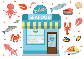 Seafood icons set with seafood shop building, fish, octopus, squid, shrimp, crab. Isolated on white background. Vector illustration