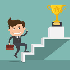 Businessman climbing the stairs of success , Trophy cup - vector illustration