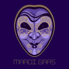 Mardi Gras. Fat Tuesday. Festive Carnival. Mask of jester, fool, joker. Vector illustration.