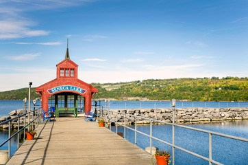 Deserted Pier with a Red Shelter on Seneca Lake, Upstate New York