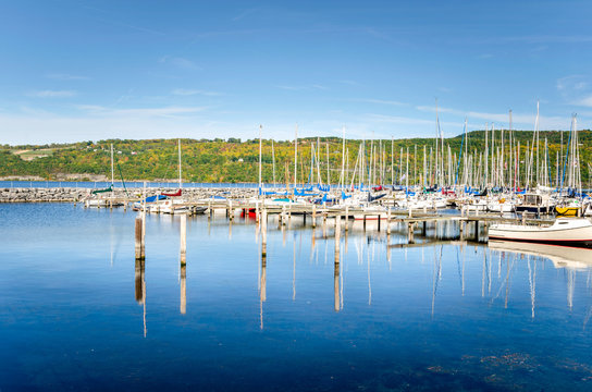 Sailing Boats in Harbour on a Sunny Autumn Day. Seneca Lake, Upstate New York
