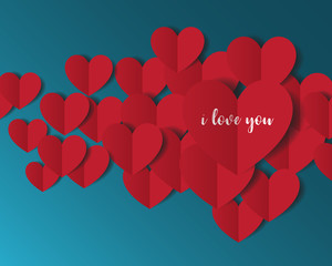 Heart Paper Sticker With Shadow Valentine's day. vector illustra