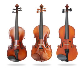 Set of violin isolated on white background