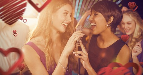 Composite image of beautiful women singing song together