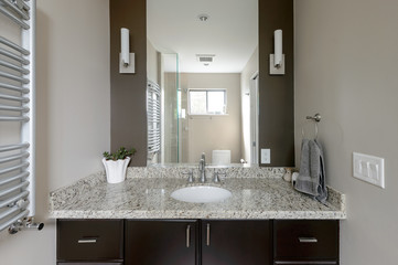 Bright modern bathroom. Interior design.