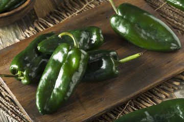 Canvas Prints Hot chili peppers Raw Green Organic Poblano Peppers