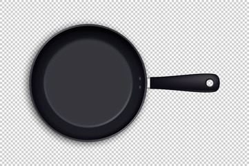 Vector realistic empty frying pan icon in top view isolated on transparent background. Design template.