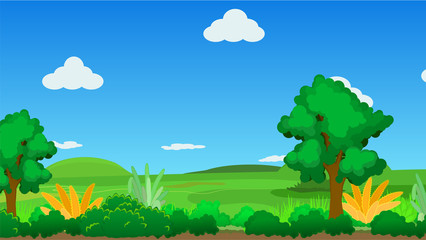 Landscape cartoon nature background, vector illustration, horizontal