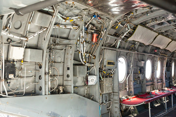 Inside military helicopter.