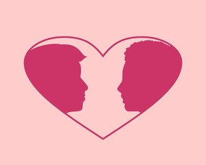 Man and woman silhouettes looking at each other. Happy valentines day and wedding design elements. Vector illustration. Big heart on backdrop. Side view.