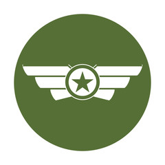 Emblem badge showing military rank, icon vector illustration
