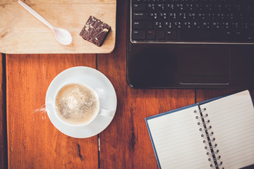 hot fresh coffee on desk work