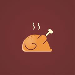 Roasted chicken icon, Vector sign logo illustration