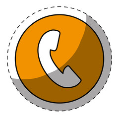 Orange symbol phone button design, vector illustration icon